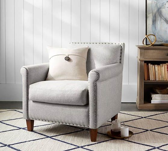 Pottery Barn Roscoe Upholstered Armchair classic armchairs modern nailhead trim sale living room furniture