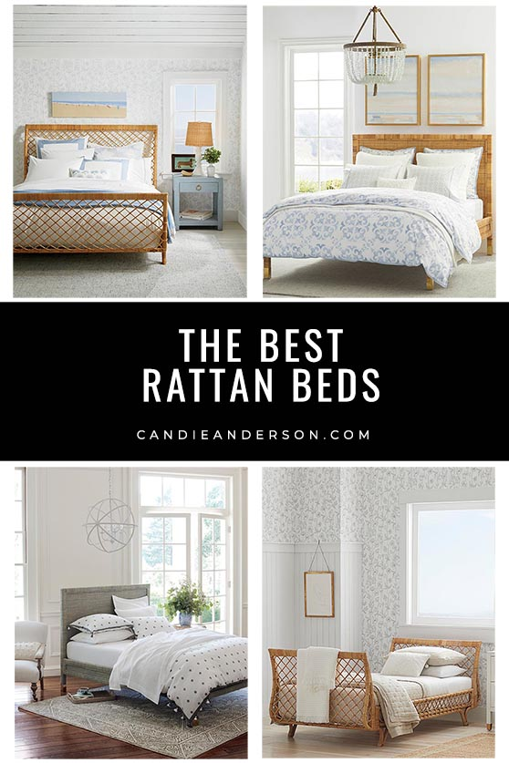 Rattan is of the hottest trends materials in the world of interior design. Renowned lifestyle expert, journalist and interior design blogger Candie Anderson of candieanderson.com has the scoop on in 14 of the best rattan beds for your bedroom in the hottest styles, designs and decor trends! They will look amazing in the coastal, farmhouse, modern farmhouse, rustic, contemporary, traditional, midcentury and vintage inspired bedroom.