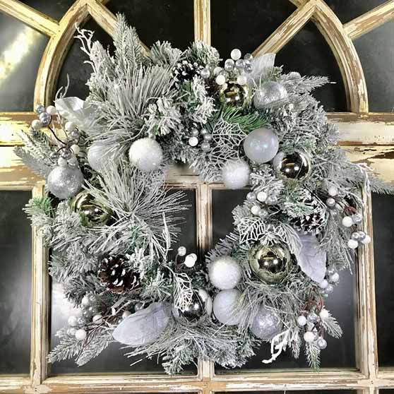 "The Holiday Aisle Flocked Mixed Evergreen 24"" Polyvinyl Chloride Wreath silver ornaments glam christmas wreaths"
