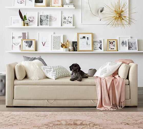 Pottery Barn Luna Upholstered Daybed Sleeper daybeds guest bedroom