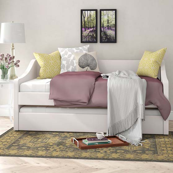 Winston Porter Fieldsboro Twin Daybed with Trundle White daybeds
