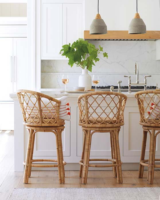 Serena and Lily Avalon Swivel Counter Stool Natural rattan counter stools