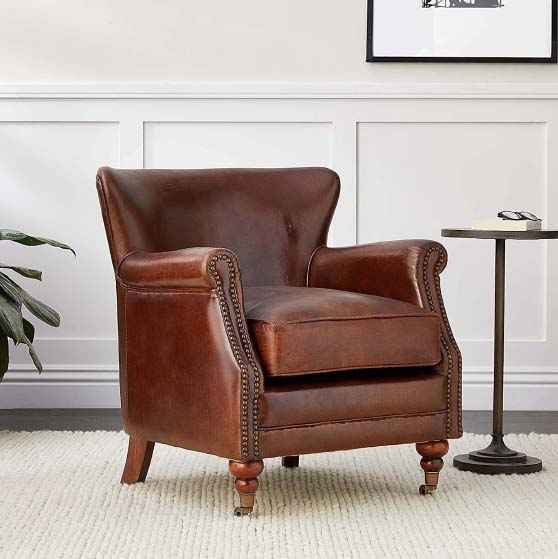 Canora Grey Healey 29'' Wide Tufted Genuine Leather Top Grain Leather Club Chair chairs
