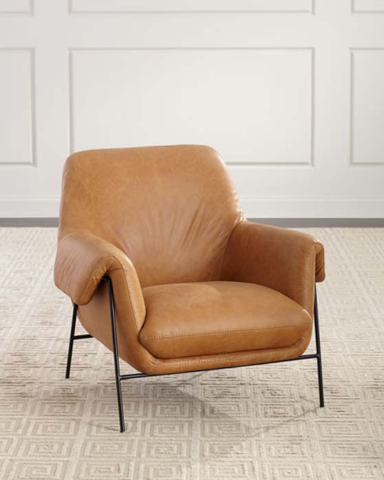 Hooker Furniture Derby Leather Metal Frame Club Chair Brown leather club chairs