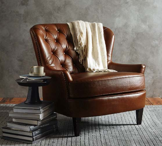 Pottery Barn Cardiff Tufted Leather Armchair with Nailheads leather club chairs