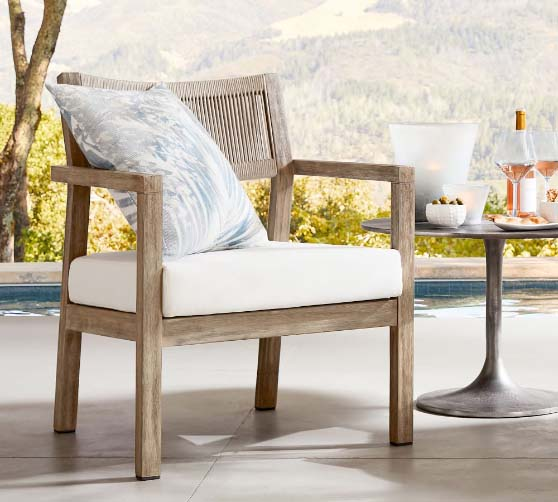 Pottery Barn Indio Coastal FSC® Mahogany Rope Lounge Chair outdoor rope chairs