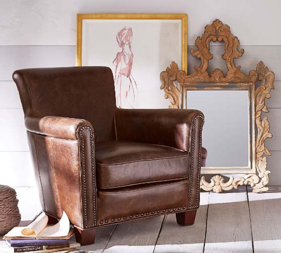 Pottery Barn Irving Roll Arm Leather Armchair with Nailheads leather club chairs