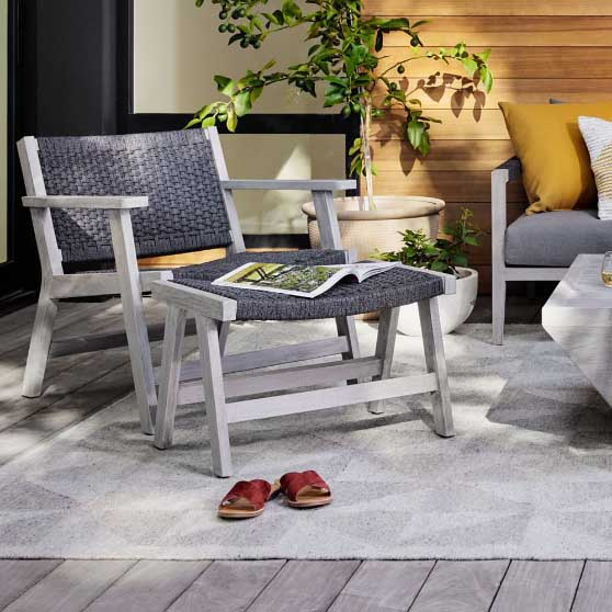 West Elm Woven Rope & Teak Outdoor Chair - Charcoal outdoor rope chairs