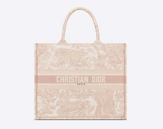 DIOR BOOK TOTE Pink Toile de Jouy Embroidery designer summer tote bags