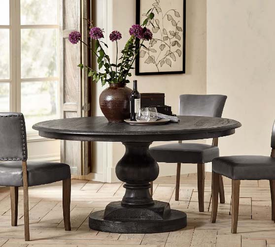 Pottery Barn Nolan Round Pedestal Dining Table best rustic round dining tables