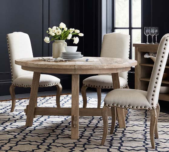 Pottery Barn Toscana Round Extending Dining Table Seadrift rustic round dining tables